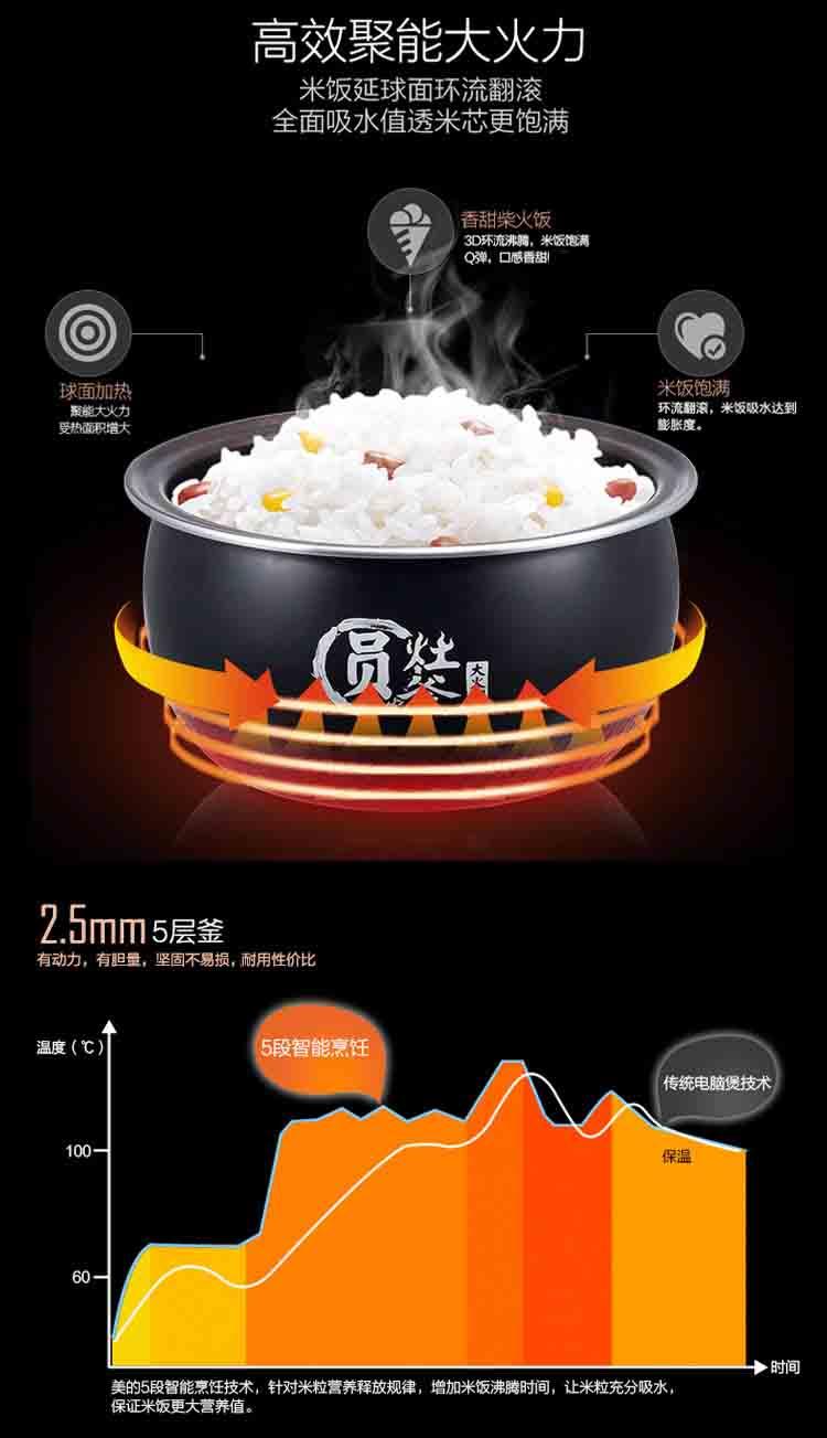 美的(midea) 电饭煲 mb-wfs4017tm 4l